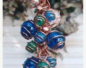 FLASH SALE Butterfly Wind Chimes Copper Glass Gypsy Bell Windchime Garden Yard Lawn Art Decor Whimsical Suncatcher