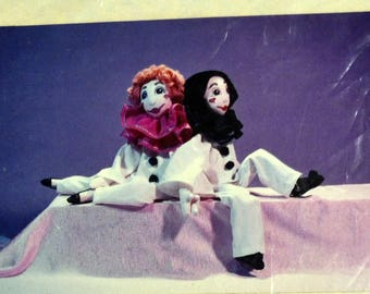 Pierre et Marie  Soft Sculpture Clown doll pattern Complete Harlequin dolls