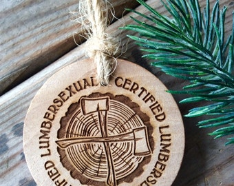 Lumbersexual Ornament, Bearded Rustic Laser Engraved Ornament Gift for Man