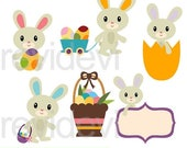 35% OFF SALE Easter clipart, Cute Easter Bunnies clipart, digital images, commercial use clip art, Easter bunny