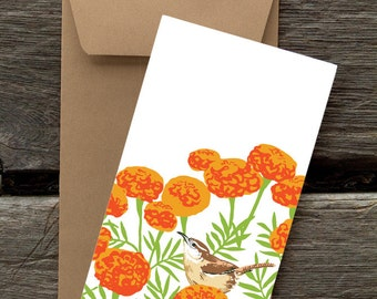 Carolina Wren and Marigolds : Pack of 8 eco-friendly flat cards