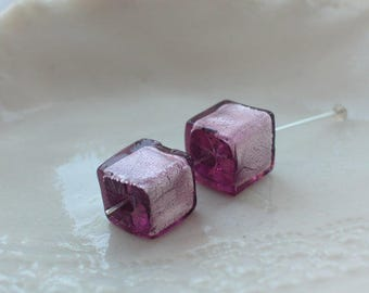 Murano Lilac Glass Cube Beads