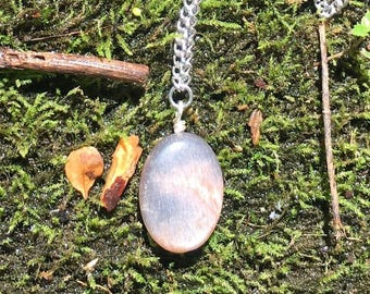 Peach Moonstone Stainless Steel Long Necklace