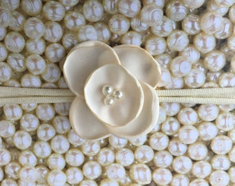 Preemie Headband, Ivory Baby Headband, Small Bows, Baby Bows, Newborn headbands, Nylon Headbands, Baby hair bows, Flower Headband