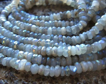 Mystic AB Gray Moonstone Faceted Rondelles - 6 1/2 inches - 4mm X 2mm
