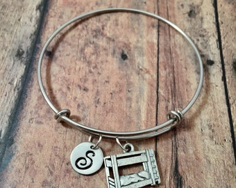 Bunk bed initial bangle- bunk bed jewelry, summer camp jewelry, cabin bracelet, camping bracelet, camping jewelry, camp counselor gift