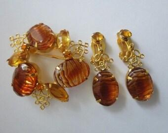 Vintage Rhinestone Brooch and Earrings Set