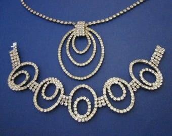 Rhinestone Necklace and Bracelet Set