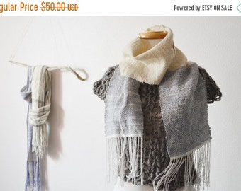 February Sale Slate & Snow Ombre -ish Scarf - Handwoven Scarf in Merino Wool, Tencel, Bamboo. From Handspun Wool and Commercially Spun Bambo
