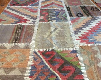 Vintage Patchwork Turkish Kilim Rug - 3′6″ × 6′2″