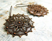 Copper earrings / boho earrings / coworker gift gypsy earrings  Copper Jewelry / round filigree earrings 7th anniversary