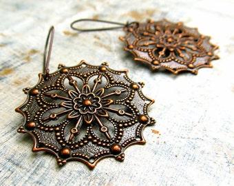 Copper earrings / boho earrings / gypsy earrings  Copper Jewelry / round filigree earrings 7th anniversary