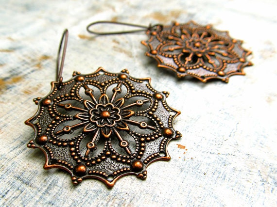 Gypsy copper earrings 7th anniversary Copper Jewelry