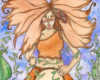 Wild Woman Original Watercolor Painting Fantasy Art Goddess Art Divine Feminine Sacred Art Spiritual Art Pagan Mythology Priestess Altar
