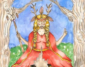 Fantasy Art Pagan Art Print The Volva Norse Art Mythological Spiritual Art Divine Feminine Sacred Nordic Priestess Art Goddess Altar