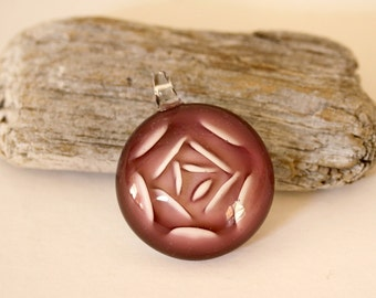Rose Colored Pendant, Pink Pendant, Glass Pendant, 32MM Pendant, Pink and White Pendant, Jewelry Destash