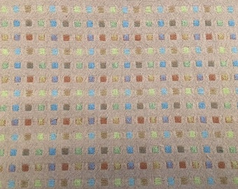 Woven Japanese Taupe with small colored squares - 1 yard
