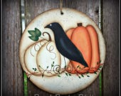 Fall Pumpkin-Crow Large Circle Ornament-Home Decor-Primitive Art