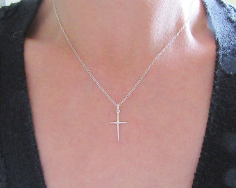 Sterling Silver Cross Necklace, Sterling Silver Cross Pendant Necklace
