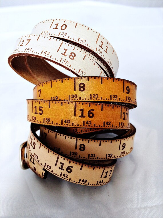 "Leather tape measure, Triple wrap skinny, tape measure accessory, sewing, knitting, crochet, woodwork, teacher, student, designer, 20""total"