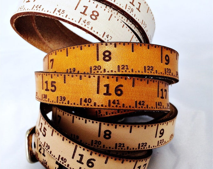 "Featured listing image: Leather tape measure, Triple wrap skinny, tape measure accessory, sewing, knitting, crochet, woodwork, teacher, student, designer, 20""total"