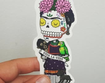 Viva Frida Calavera Clear Vinyl Sticker Day of the Dead