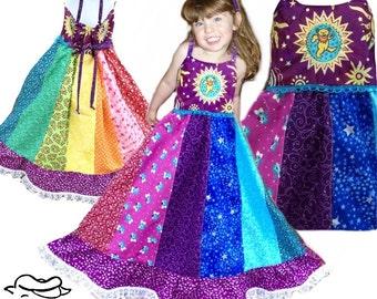Girls rainbow Dress, Girls Spinner Dress, Hippie Handmade Patchwork Custom Made Girls Dress-Phatcatpatch dancing bear dress, Grateful Dead