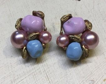 Vintage Beaded Marvella Clip On Earrings