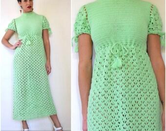SUMMER SALE / 20% off Vintage 60s 70s Mint Green Crocheted Maxi Dress (size small, medium)