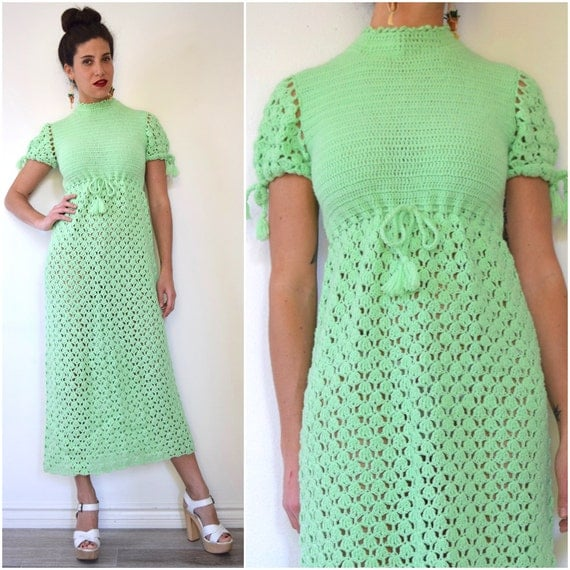 Vintage 60s 70s Mint Green Crocheted Maxi Dress (size small, medium)