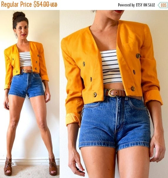 SALE SECTION / 50% off Vintage 80s 90s Mustard Yellow Cropped Double Breasted Jacket (size small, medium)