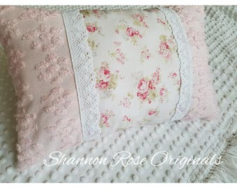 Baby pink vintage chenille country roses throw pillow shabby chic