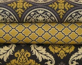 3 Piece FAT QUARTER BUNDLE - Joel Dewberry Fabric, Aviary 2, Damask, Scrollwork,  Lodge Lattice, Granite Yellow Free Spirit