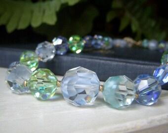 On Sale, Vintage Laguna Necklace Vintage Swarovski Choker Blue Givre Crystal Vintage Swarovski Crystal Necklace Estate Find Crystal Necklace