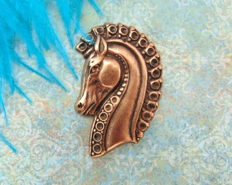 ANTIQUE COPPER * Trojan Horse Head Medieval Stamping ~ Jewelry Ornament Findings (E-9)