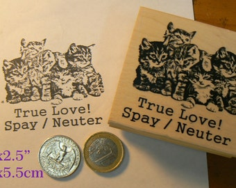 Help awareness for cats, rubber stamp.