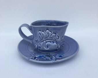 Blue Gravy Boat with Plate set