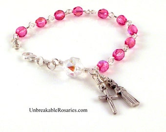 St Gerard Rosary Bracelet Patron Saint of Fertility, Pregnancy and Childbirth Pink Rose Fire-polished Czech Glass Beads