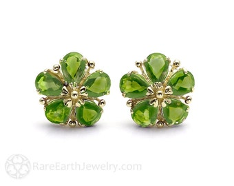 Peridot Earrings Green Gemstone Flower Earrings August Birthstone Studs Posts