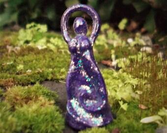 Purple Sparkle Spiral Mini Goddess Altar Figurine