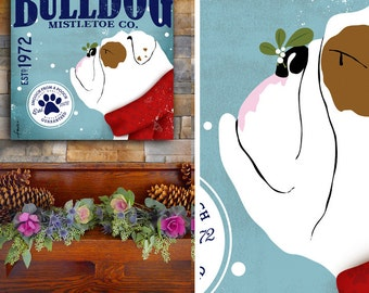 English Bulldog Dog Mistletoe Company graphic artwork on gallery wrapped canvas by stephen fowler