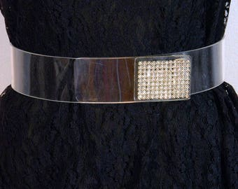 Ultra Cool Unique Rare Vintage Clear Lucite/Plastic Wide Belt with Rhinestones, Wrap Around Elegant 40s Eveningwear or Everyday Bling Disco!