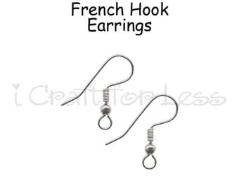 24 (12 Pairs) Hook Ear Wires, Earring Hooks, Fish Hook Earring Wires, French Hook Earrings - SEE COUPON