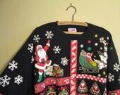 80s Santa Sweatshirt Glitter Santa Claus Vintage Sweatshirt Xmas Glitter shirt Black Xmas sweatshirt Ugly Christmas Tacky Tacky Xmas L