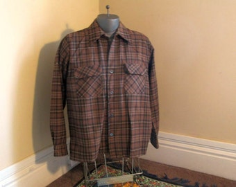 60s Brown plaid Shirt flap pockets Vintage Plaid Wool Shirt loop button shirt 60s Washable Wool coffee brown plaid shirt camel tan shirt M L