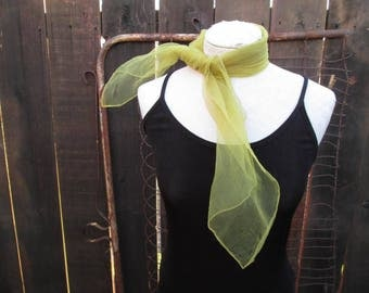 2 50s Scarves Sheer LIME Vintage Nylon scarf Sheer Purple vintage 50s Vintage Nylon scarf vintage 50s hair bow square 50s green scarf