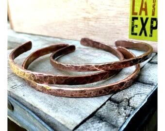 Hammered Copper Adjustable Bangle Bracelet Set (narrow cuff)