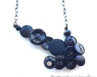 Black Arrow Vintage Button Statement Necklace