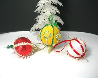 Vintage Hand-beaded Christmas Tree Ornaments, 1960s era, Round Balls, Yellow and Green, Red and White, Holiday Decoration, Vintage Christmas