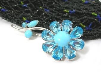 Regency Rhinestone Brooch, Baby Blue Flower in Silver-tone Metal Setting, Springtime Summer Jewelry, Vintage Designer Signed Pin 1960-70s
